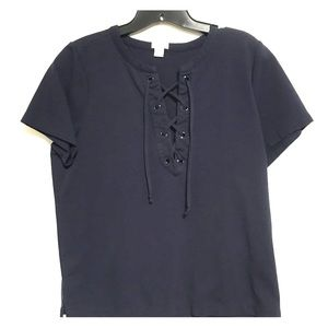 J. Crew lace up jersey top